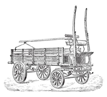 motor de carro: Camión, ilustración de la vendimia grabado. E.-O. enciclopedia Industrial Lami - 1875.