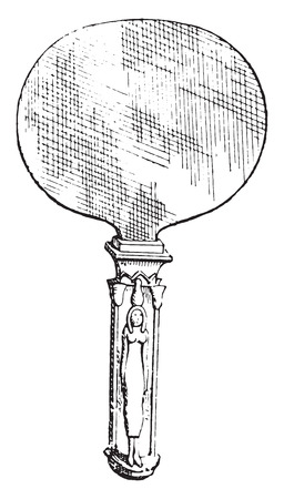 depiction: Egyptian Mirror, vintage engraved illustration. Private life of Ancient-Antique family-1881. Illustration
