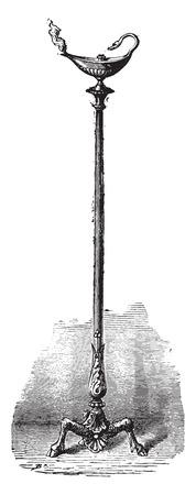 candelabrum: Roman candelabrum with his lamp, vintage engraved illustration. Industrial encyclopedia E.-O. Lami - 1875. Illustration
