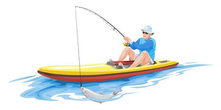 barca da pesca: Illustrazione vettoriale di uomo che pesca in barca. Vettoriali