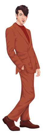 Vector illustratie van een stijlvolle zakenman. Stock Illustratie