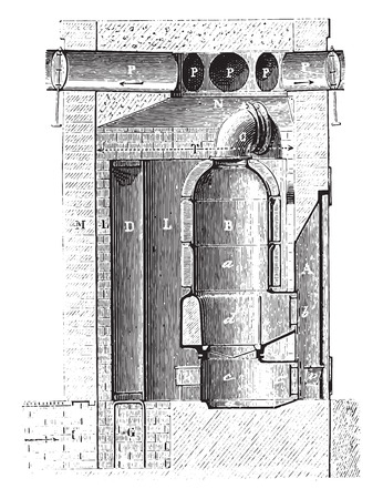 antique factory: Vertical section of the cellar furnace along the line, vintage engraved illustration. Industrial encyclopedia E.-O. Lami - 1875.