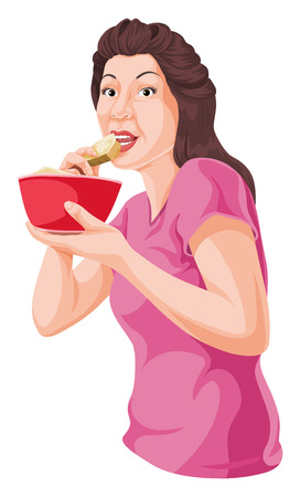 human representation: Vector illustration of woman eating from bowl.