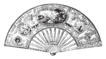 Fan to Louis XVI Period, vintage engraved illustration. Industrial encyclopedia E.-O. Lami - 1875.