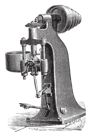 trimming: Machine trimming raw nuts forges mechanically, vintage engraved illustration. Industrial encyclopedia E.-O. Lami - 1875.