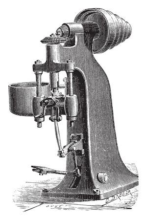 rindfleisch roh: Maschine Trimmen rohe N�sse schmiedet mechanisch, Jahrgang gravierte Darstellung. Industrielle Enzyklop�die E.-O. Lami - 1875. Illustration