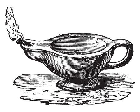 pouring: Antique lamp, vintage engraved illustration. Industrial encyclopedia E.-O. Lami - 1875.