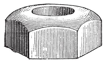 the encyclopedia: Hexagon nut, vintage engraved illustration. Industrial encyclopedia E.-O. Lami - 1875.