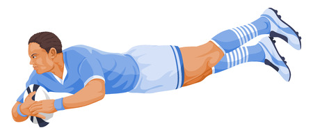 Vector illustration of rugby player diving.