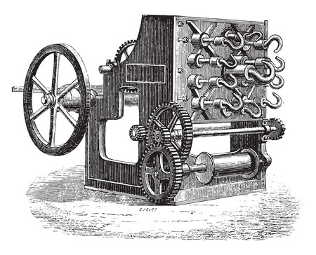 spinner: Spinner wholesale, vintage engraved illustration. Industrial encyclopedia E.-O. Lami - 1875.