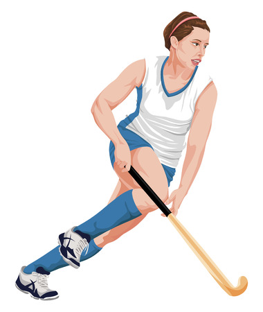 hairband: Vector illustration of female hockey player in action.
