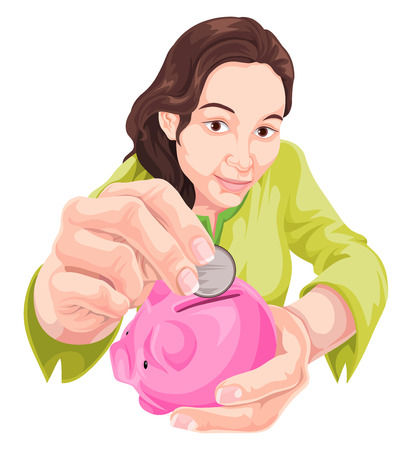 inserting: Vector illustration of woman inserting coin in piggy bank.