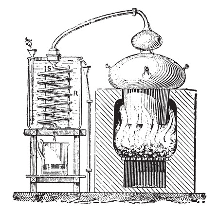 distill: Still, vintage engraved illustration. Dictionary of words and things - Larive and Fleury - 1895.