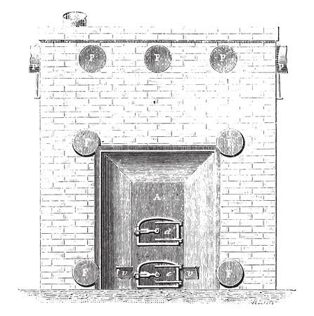 basement: Front view of the basement furnace, vintage engraved illustration. Industrial encyclopedia E.-O. Lami - 1875. Illustration