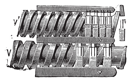 barrettes: Set screws and bars in the linen shelf, vintage engraved illustration. Industrial encyclopedia E.-O. Lami - 1875.