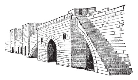 staircase: Ramparts of Aigues-Mortes, vintage engraved illustration. Industrial encyclopedia E.-O. Lami - 1875.