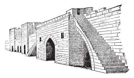 Terraplenes de Aigues-Mortes, ilustración de la vendimia grabado. E.-O. enciclopedia Industrial Lami - 1875. Foto de archivo - 42004206