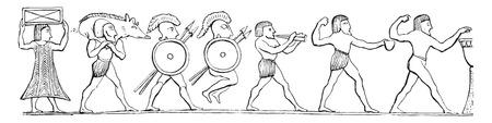 sacrificio: El sacrificio de los Etruscos, ilustraci�n de la vendimia grabado. E.-O. enciclopedia Industrial Lami - 1875.
