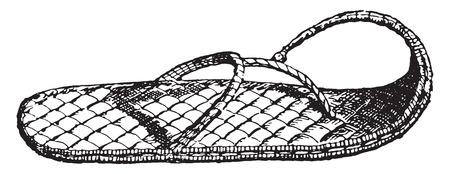 sandalia: Cosecha ilustración grabada Sandalia,.