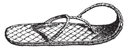 Sandal, vintage engraved illustration.