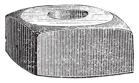 threaded: Square nut, vintage engraved illustration. Industrial encyclopedia E.-O. Lami - 1875. Illustration