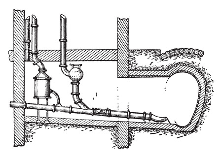 sewer pipe: Private connection with the service for emptying, vintage engraved illustration. Industrial encyclopedia E.-O. Lami - 1875.