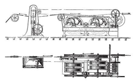 elevation: Elevation and unwinding unit plan, vintage engraved illustration. Industrial encyclopedia E.-O. Lami - 1875.