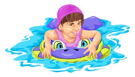 Vector illustration of girl swimming using float. Ilustracja