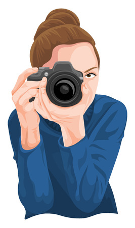 Vector illustration of woman photographing with camera. Ilustracja