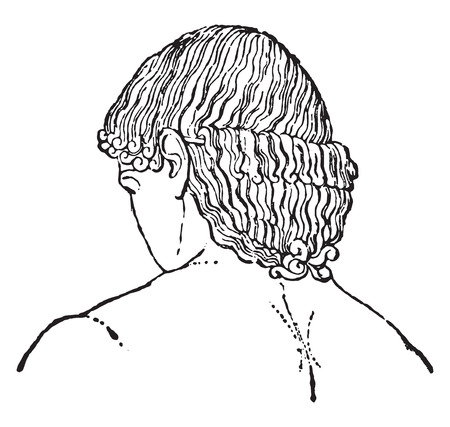 coiffure: Greek hairstyle, vintage engraved illustration.