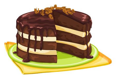 Ilustracji wektorowych ciasto czekoladowe z brakujących plasterków.