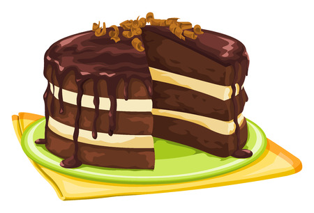 Vector illustration of chocolate cake with missing slice. Ilustração