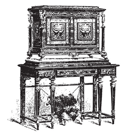 the encyclopedia: Cabinet Fourdinois, vintage engraved illustration. Industrial encyclopedia E.-O. Lami - 1875. Illustration