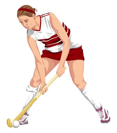 ropa deportiva: Ilustración del vector del jugador de hockey femenino en acción. Vectores