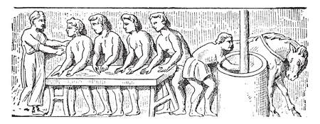 black business men: Roman bakers, vintage engraved illustration.