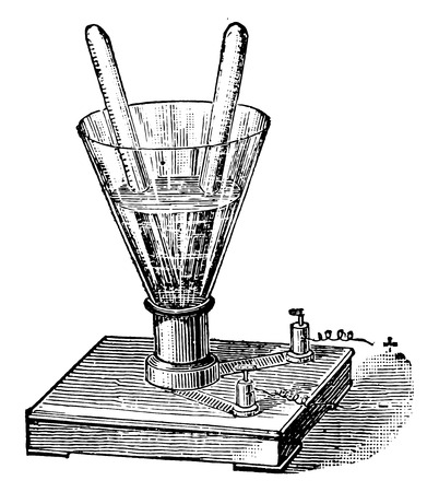 Water analysis by the battery, vintage engraved illustration. Industrial encyclopedia E.-O. Lami - 1875.