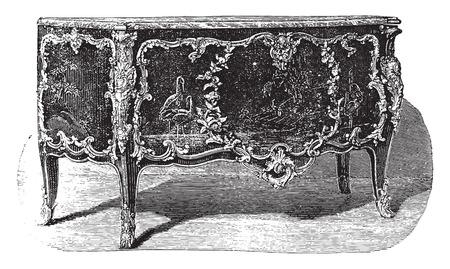 attribute: Gelakte commode met bronzen ornamenten toeschrijven aan Caffieri (achttiende eeuw), vintage gegraveerde illustratie. Industrial encyclopedie E.-O. Lami - 1875. Stock Illustratie