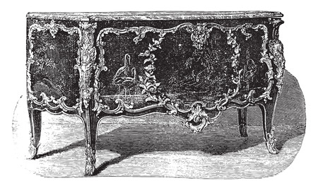 attribute: Lacquered chest of drawers with bronze ornaments attribute to Caffieri (eighteenth century), vintage engraved illustration. Industrial encyclopedia E.-O. Lami - 1875.