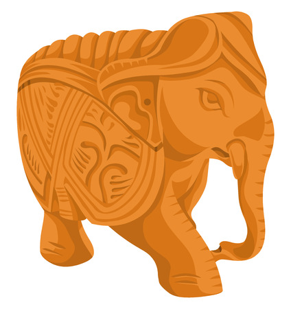 Vector illustration of elephant statue. Ilustrace