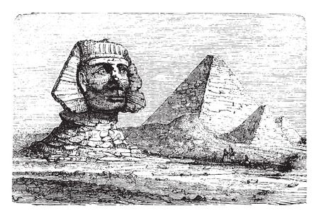 Sphinx: Pyramids of Giza and the Great Sphinx, vintage engraved illustration. Industrial encyclopedia E.-O. Lami - 1875.