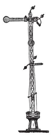 Electro semáforo Tesse y Lartigue, vintage grabado ilustración. Enciclopedia industrial E.-O. Lami - 1875. Foto de archivo - 42016150