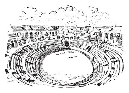 teatro antiguo: Anfiteatro de Nimes, ilustración de la vendimia grabado. Diccionario de palabras y las cosas - Larive y Fleury - 1895.