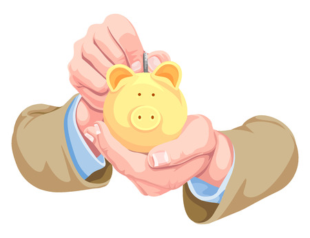 hands cupped: Vector illustration of hands depositing money in piggy bank.