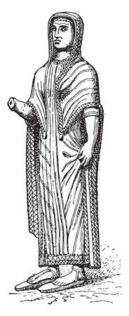 Donna etrusca, vintage illustrazione inciso.