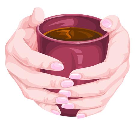 mug: Vector illustration of human hand holding coffee cup.