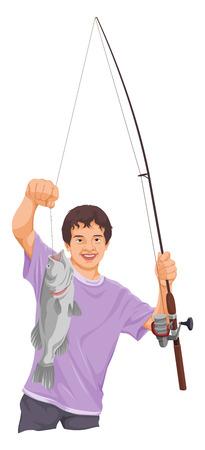 teenage boy: Vector illustration of teenage boy fishing.