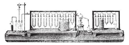 metodo cientifico: Agua sintética por la descomposición del óxido de cobre por hidrógeno, ilustración de la vendimia grabado. E.-O. enciclopedia Industrial Lami - 1875.