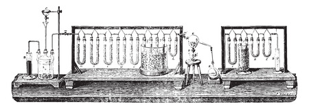 Synthetic water by the decomposition of the copper oxide by hydrogen, vintage engraved illustration. Industrial encyclopedia E.-O. Lami - 1875.