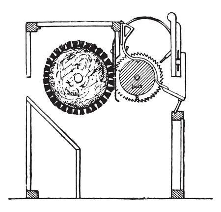 Cotton gin a so-called saw-gin, vintage engraved illustration. Industrial encyclopedia E.-O. Lami - 1875. Ilustração