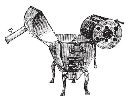 coffee: Coffee roaster, vintage engraved illustration. Industrial encyclopedia E.-O. Lami - 1875.